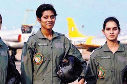 (L-R) Trainee pilots Mohana, Bhawana and Avani