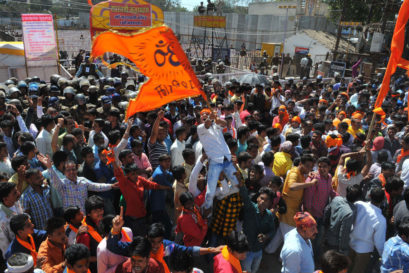 Hindu activists protest outside the  Bhojshala complex on 12 February in Dhar, Madhya Pradesh