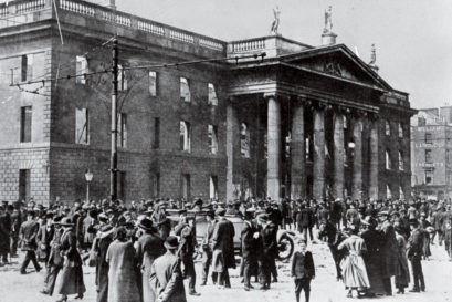 THE RISING: A crowd outside the main Dublin post office after it was shelled by British forces (Photo: GETTY IMAGES)