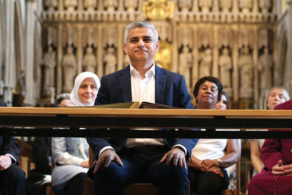 Sadiq Khan at an official signing ceremony at Southwark Cathedral as he begins his first day as Mayor of London