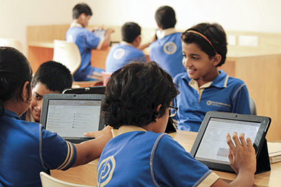 Kunskapsskolan school students in Gurgaon access coursework and mock tests through a digital learning portal