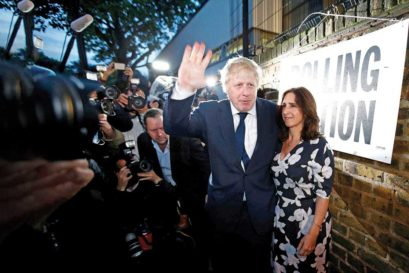 Boris Johnson and his wife Marina Wheeler at a polling booth in London