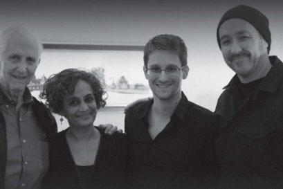 (L-R) Arundhati Roy, Edward Snowden and John Cusack