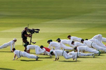 The Pakistan team celebrate their win over England at Lord's with push-ups