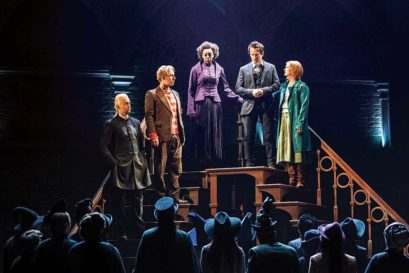 (L-R) Draco Malfoy, Ron Weasley, Hermione Granger, Harry Potter and Ginny Weasley in Harry Potter and the Cursed Child at Palace Theatre in London