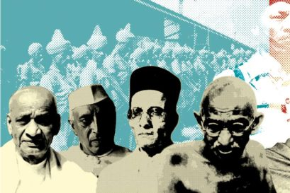 Nation Builders: (L to R) Vallabhbhai Patel, Jawaharlal Nehru, Veer Savarkar, Mahatma Gandhi