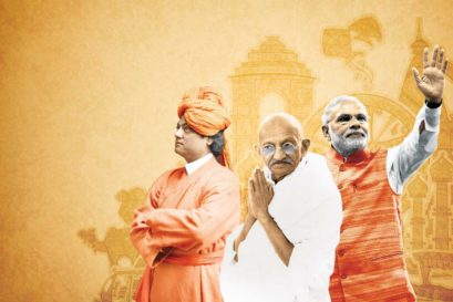 India on Their Mind: (L to R) Swami Vivekananda, Mahatma Gandhi and Narendra Modi (Illustration: Saurabh Singh)