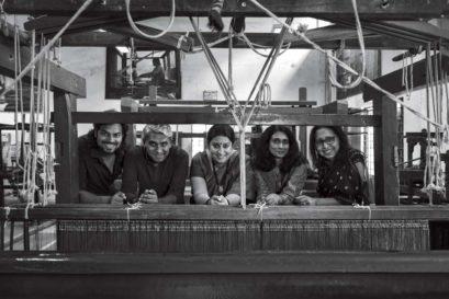 Smriti Irani (Centre) with designers (L-R) Rahul Mishra, Rajesh Pratap Singh, Sunita Shankar and Anju Modi at the Weavers Service Centre, Delhi