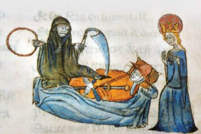 Death personified as the Grim Reaper in medieval art