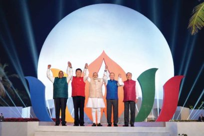 Narendra Modi with BRICS leaders (from left) South African President Jacob Zuma, Chinese President Xi Jinping, Russian President Vladimir Putin and Brazilian President Michel Temer in Goa