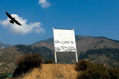 A sign along the road in Boniyar near Uri