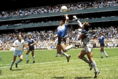 Argentina's Diego Maradona (centre) in the 1986 World Cup