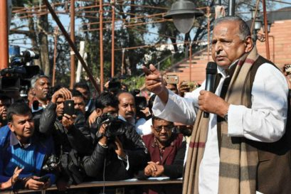 Mulayam Singh addresses party workers in Lucknow