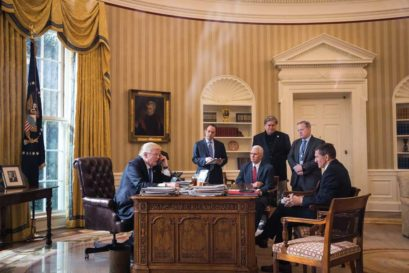 Trump speaks to Vladimir Putin over the phone in the presence of his close advisers, January 28th