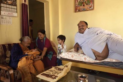 Jogawat with his family at home in Neemuch after the surgery