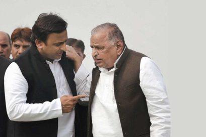 Akhilesh and Mulayam Singh Yadav