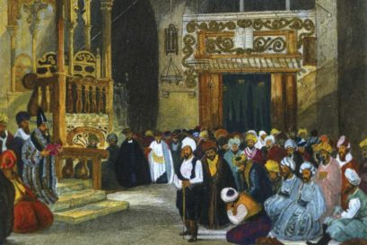 A painting by Laura Lushington of a synagogue in Istanbul
