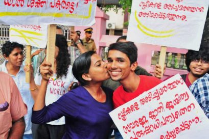 A file photo of the supporters of Kiss of Love at Law college, Kochi