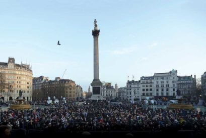 A vigil at Trafalgar Square in London for victims of the March 22nd terrorist attack