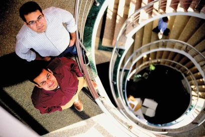 Kunal Bahl (in white shirt) and Rohit Bansal, co-founders of Snapdeal