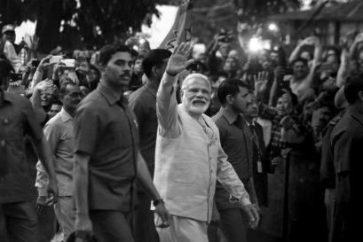 Modi outside the BJP headquarters in New Delhi after the election results