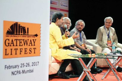 (L-R) Subodh Sarkar, Adoor Gopalakrishnan, M Mukundan and Raghuveer Chaudhari at the Gateway Litfest in Mumbai