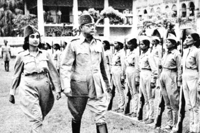 Bose and Captain Lakshmi Swaminathan inspect the Rani of Jhansi regiment during World War II