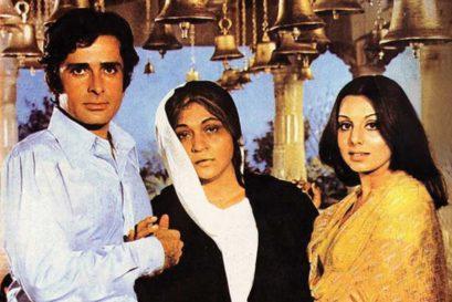 Shashi Kapoor and Neetu Singh with Nirupa Roy, who plays the iconic mother in Deewaar (1975)