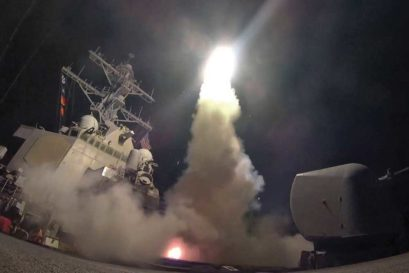 US Navy guided-missile destroyer USS Porter fires a Tomahawk against a target
