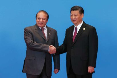 Nawaz Sharif with Xi Jinping at China's Belt and Road Forum in Beijing on May 14th