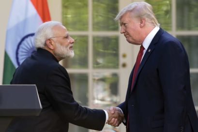 Modi with Trump after their joint statement at the White House