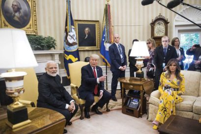 Melania and Donald Trump host Narendra Modi in the Oval Office on June 26th