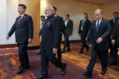 Xi Jinping and Narendra Modi at the G20 Leaders' Summit in Hamburg on July 7