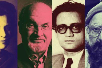 (L-R) Attia Hosain, Salman Rushdie, Saadat Hasan Manto and Khushwant Singh