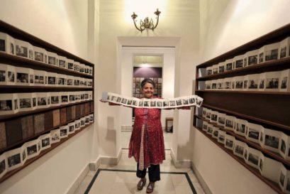 Dayanita Singh with her 'Pocket Museum' in Bikaner House, Delhi