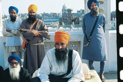 Jarnail Singh Bhindranwale (seated in centre) at the Golden Temple, 1983