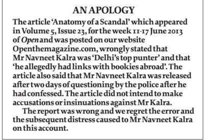 Anatomy of a Scandal: An Apology