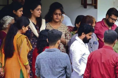 Dileep, in a white shirt, at his home when the court allowed him a two-hour break to perform a family ritual on September 6
