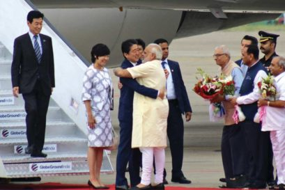 Modi welcomes Japanese Prime Minister Shinzo Abe at Ahmedabad airport