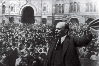 Lenin addressing the crowd in Red Square, Moscow, October 1917