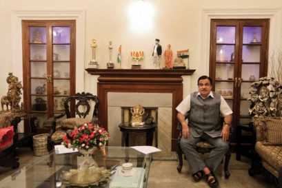 Nitin Gadkari at his Delhi residence