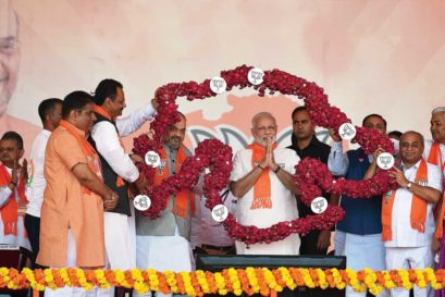 Narendra Modi at the Gujarat Gaurav Mahasamellan near Ahmedabad on October 16
