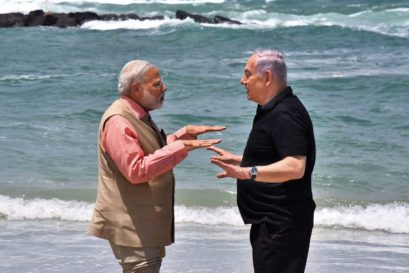 Modi and Netanyahu at Olga Beach in Israel, July 2017