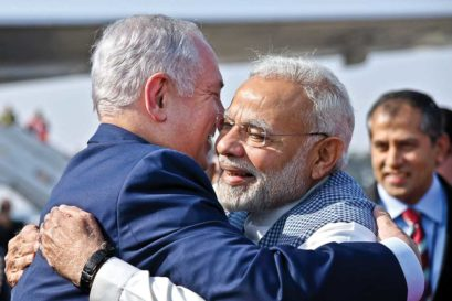 Narendra Modi greets Binyamin Netanyahu at New Delhi airport