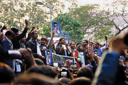 Jignesh Mevani at the Yuva Hunkaar rally held in Delhi on January 9
