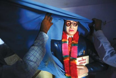 An Ambedkar statue that Thakurs prevented from being installed in Shabbirpur, a village in Saharanpur district of UP