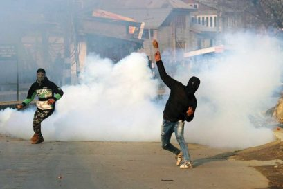 Protests in Srinagar over the killing of civilians by the Army, January 2018
