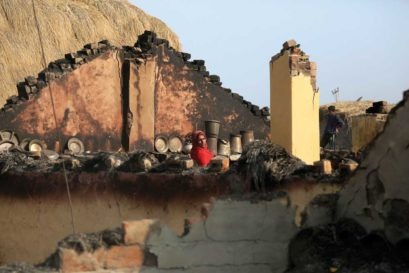 A house gutted by cross-border  shelling on January 21 in Ranbir Singh  Pura village of Jammu & Kashmir