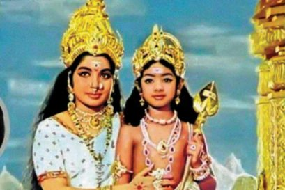 Sridevi, aged 4, as Lord Murugan in Thunaivan