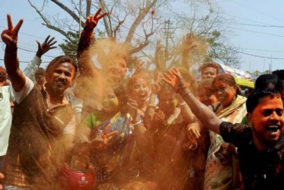 BJP supporters celebrate party's victory in Tripura Assembly elections in Dharmanagar on Saturday